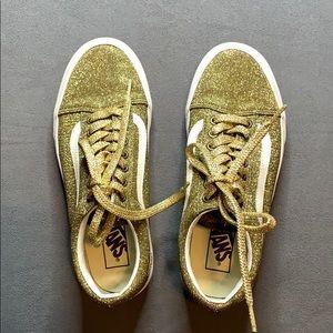 EUC Old Skool Gold Glitter Vans size 8.5